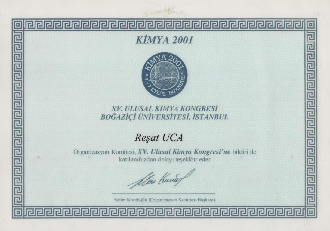 We attended the National Chemistry Congress held at Boğaziçi University on September 4-7, 2001.
