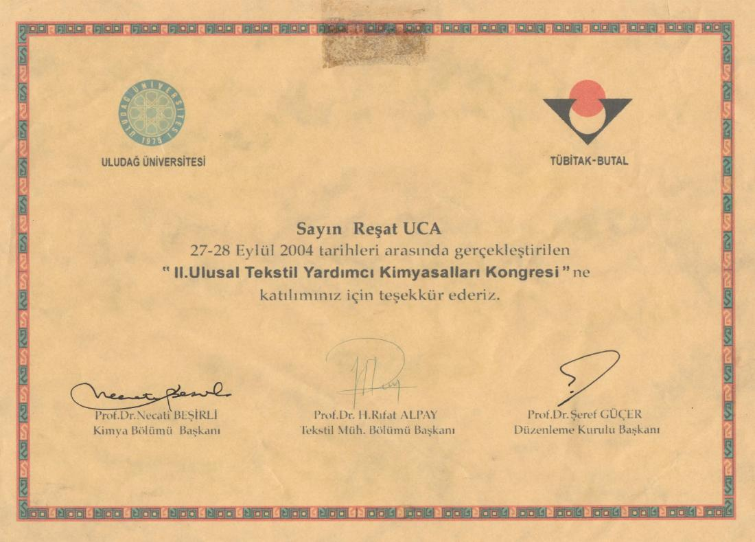 II. 27-28 September 2004. Participation in National Textile Auxiliaries Chemicals Congress.